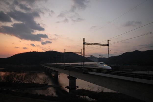 吉井川の夕焼け120204