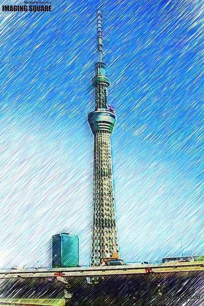 +東京スカイツリ-(色鉛筆)