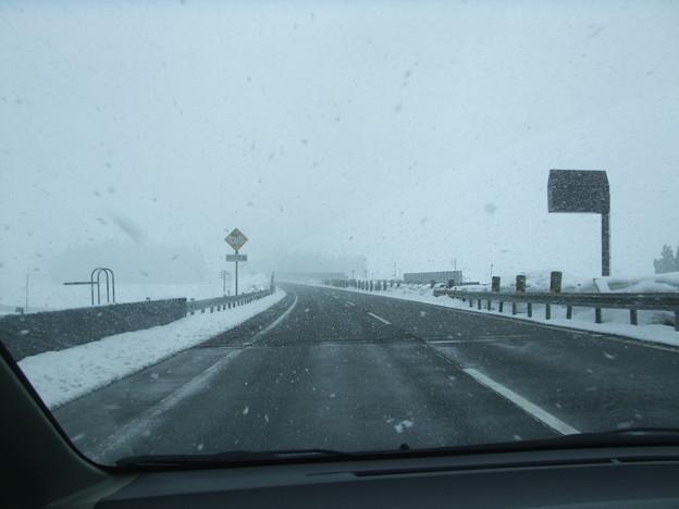 関越道は道路は融雪剤散布で雪はなし