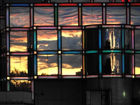 外壁の夕焼け