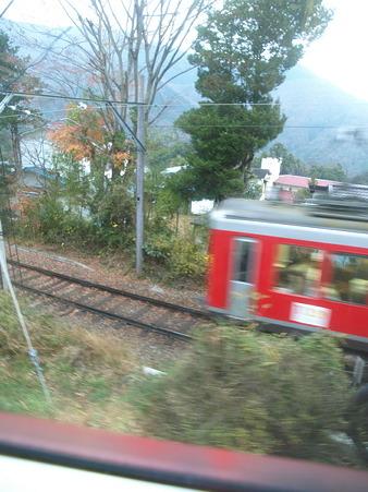 箱根登山電車の車窓(上大平台信号場界隈)