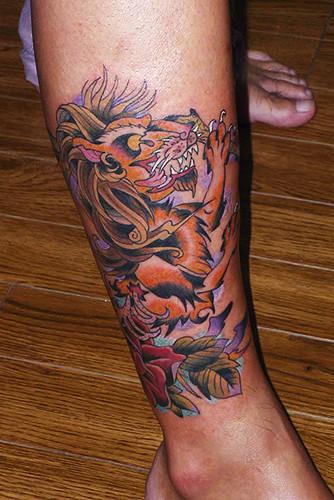 ライオン 薔薇 足/tattoo.タトゥー.刺青