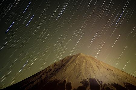 星の日周運動と富士山
