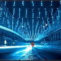 Blue Lights on Road