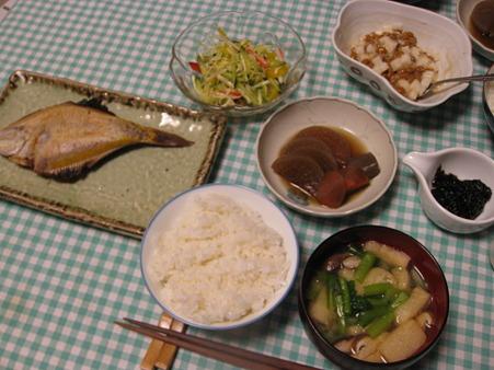 カレイの干物の晩ご飯